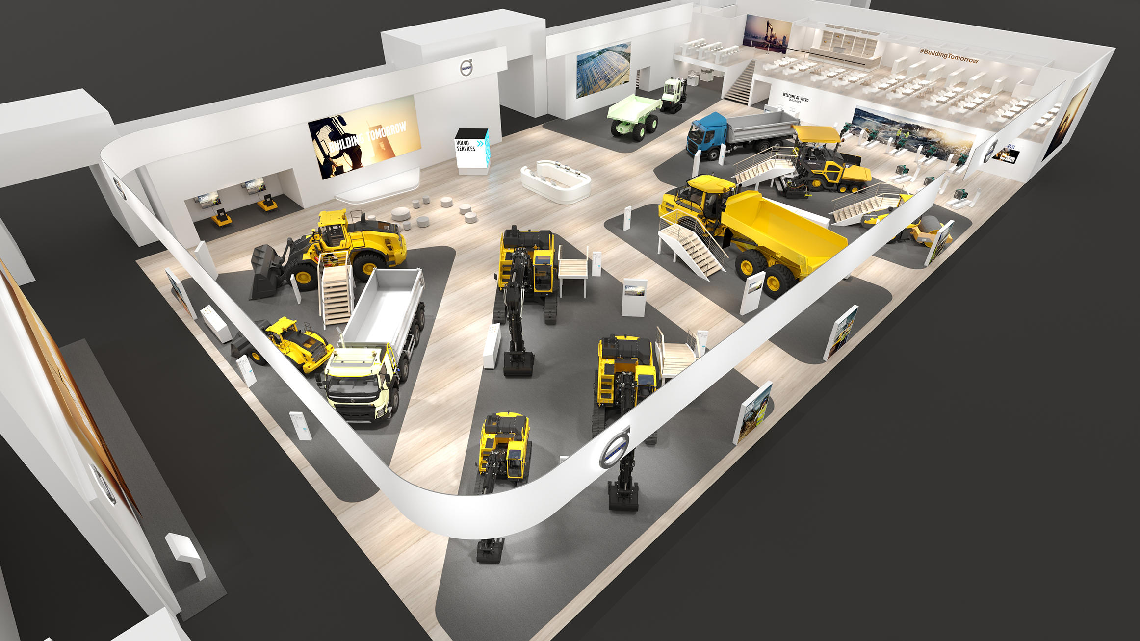 Volvo's indoor stand at bauma.