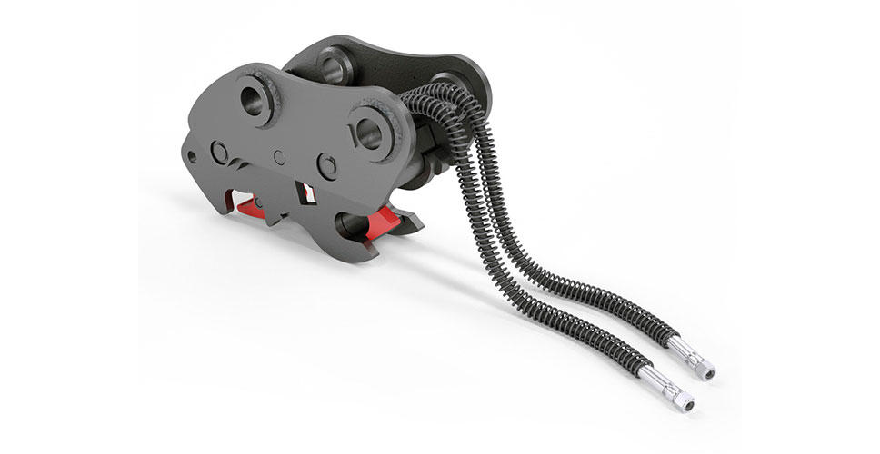 Locked on securely with Volvo's latest hydraulic quick coupler