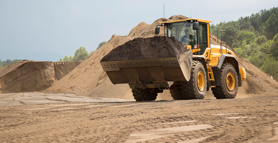 The Volvo wheel loader is purpose-built with more power and a bigger bucket size to load more in less time.
