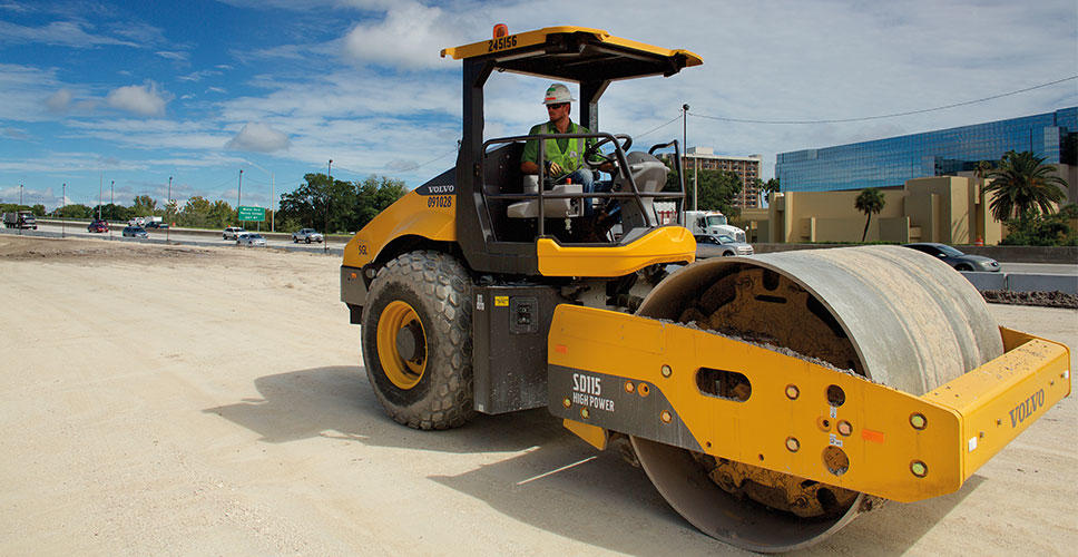 Operator Steven Brass at the wheel of his SD115 single drum compactor.