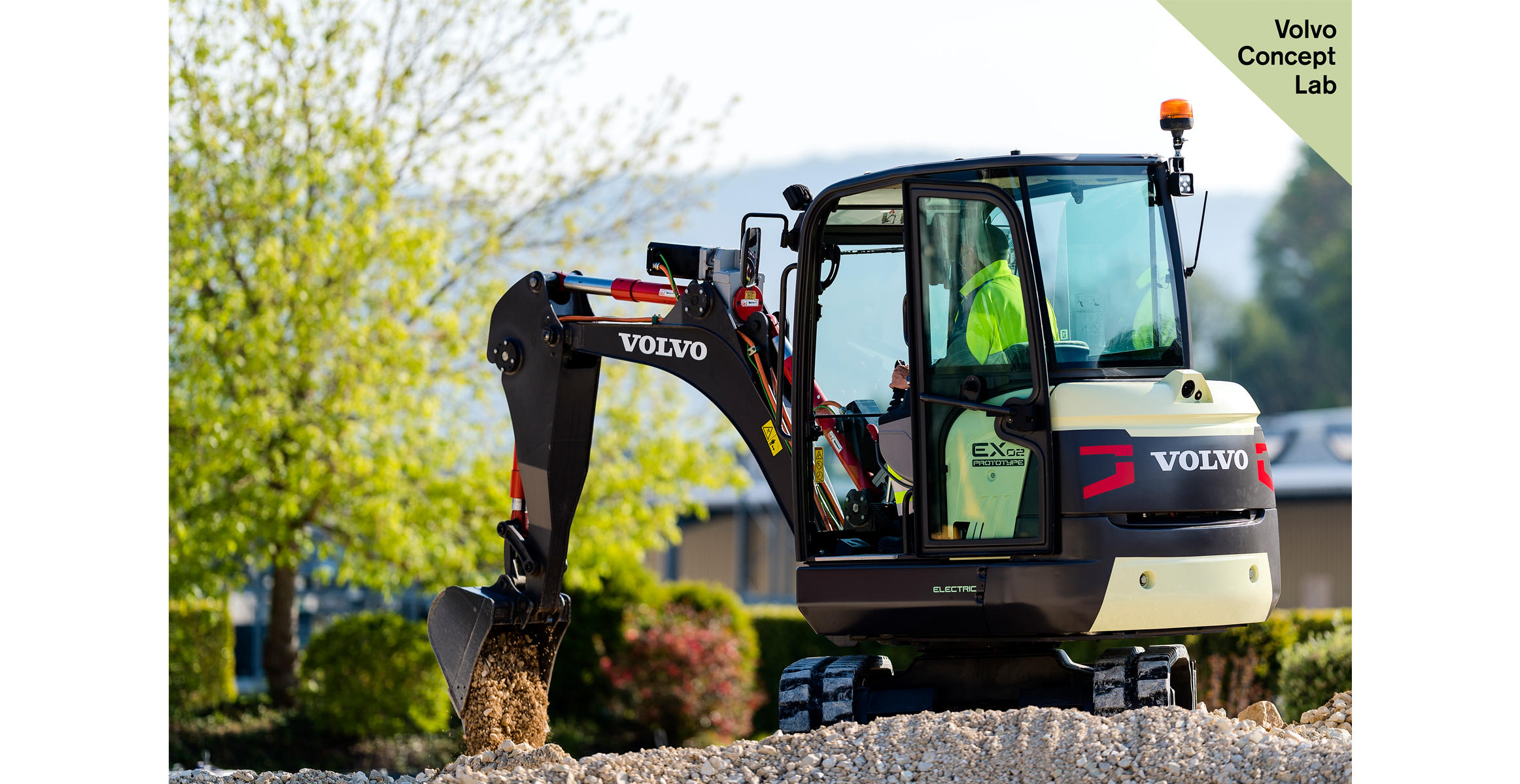 The Volvo EX2 prototype mini excavator