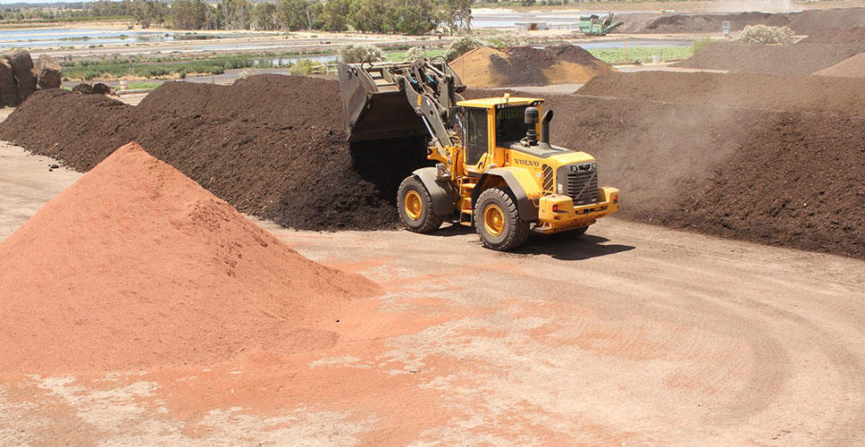 A Volvo L90F wheel loader at C-Wise in Western Australia moves compost from one place to another so that it can dry thoroughly.