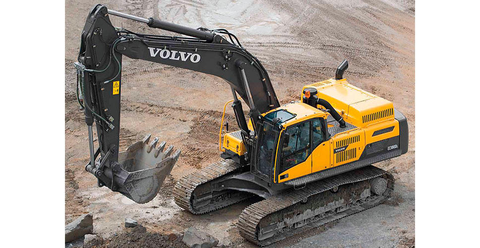 The EC380D excavator stands to attention.