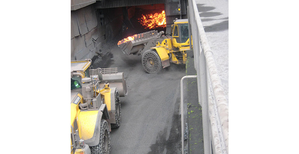 One of the harshest working environments for a wheel loader shifting liquid slag at 1,300°C