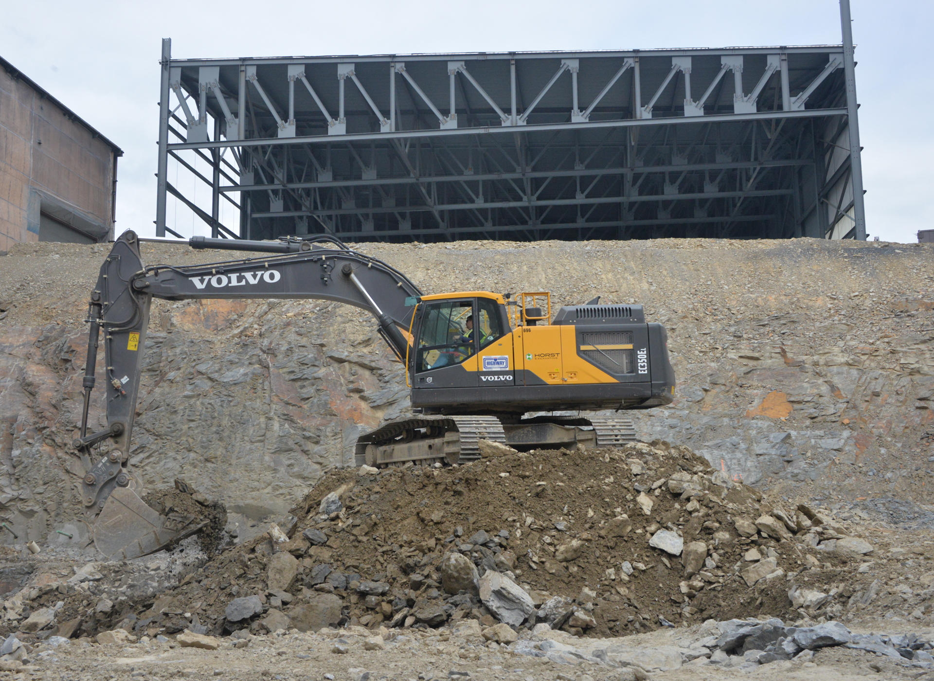 Site preparation with a Volvo EC350E excavator