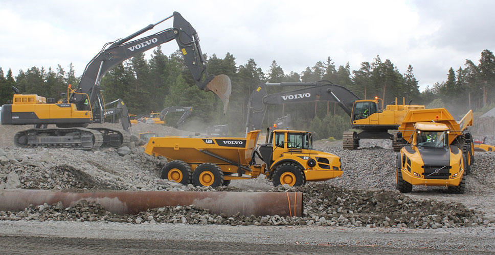 The demo show showcases some of Volvo's 90 construction machines available at the customer center in Eskilstuna, Sweden.