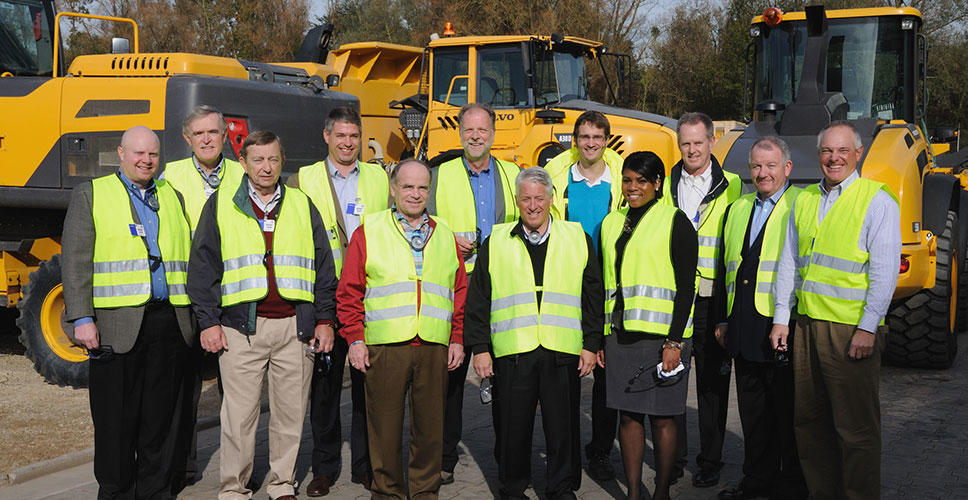 The members of the Dealer Advisory Council pose at Volvo CE's Konz, Germany, facility.