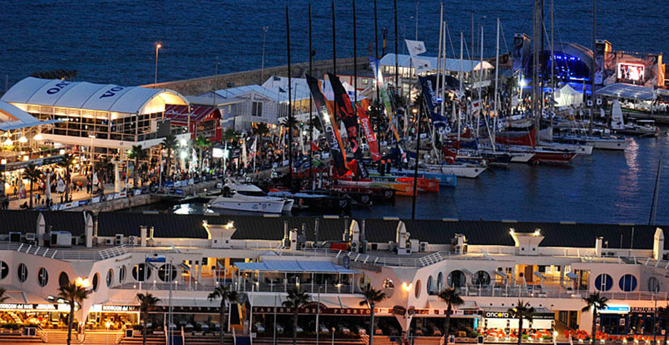 The Volvo race village is shown by night in Alicante, where the Volvo Ocean Race will begin this weekend