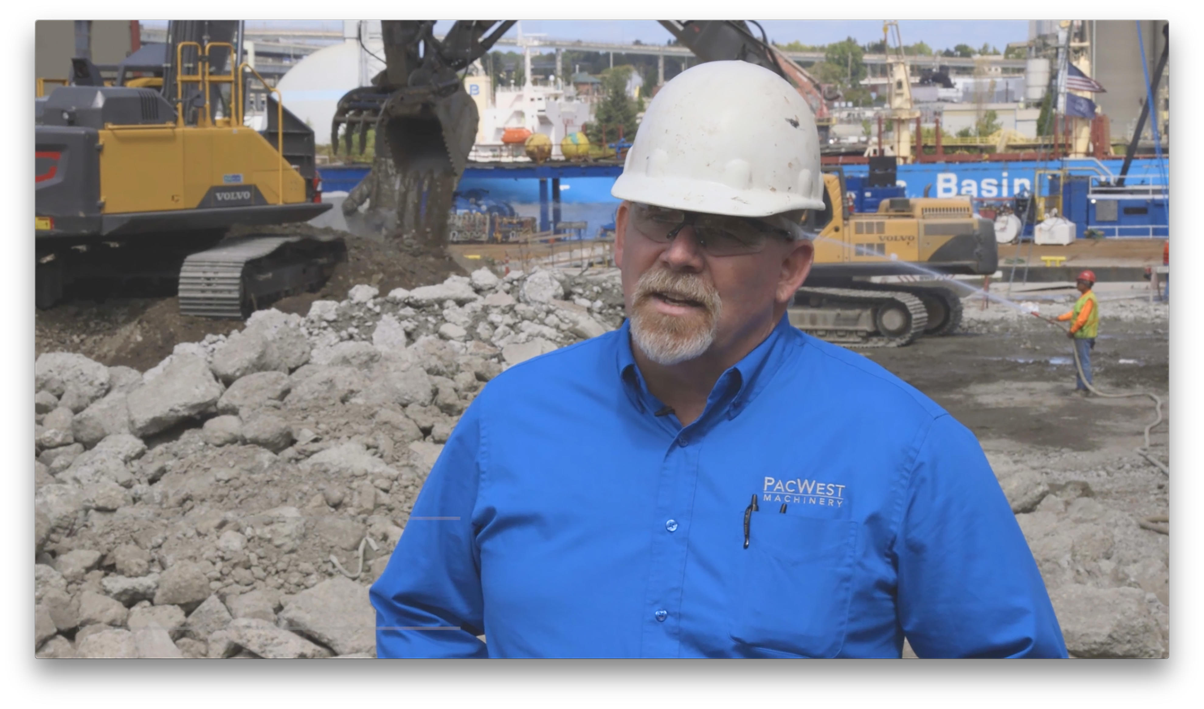 Ed Kanable, a sales representative for PacWest, works with Northwest Demolition