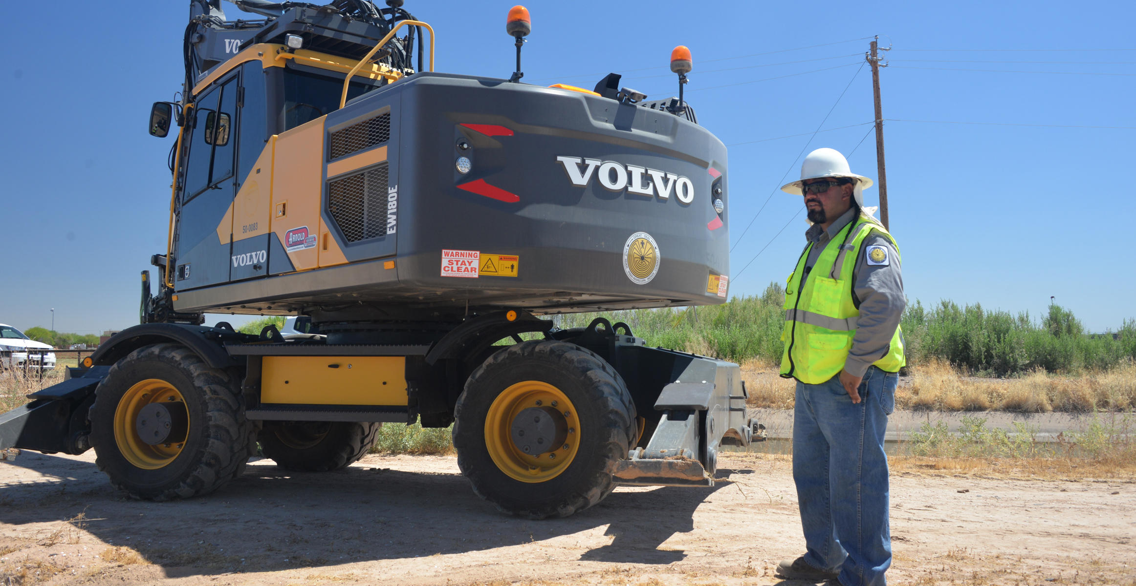 Volvo EW180E wheeled excavator used at Salt River PIMA-MARICOPA Indian Community