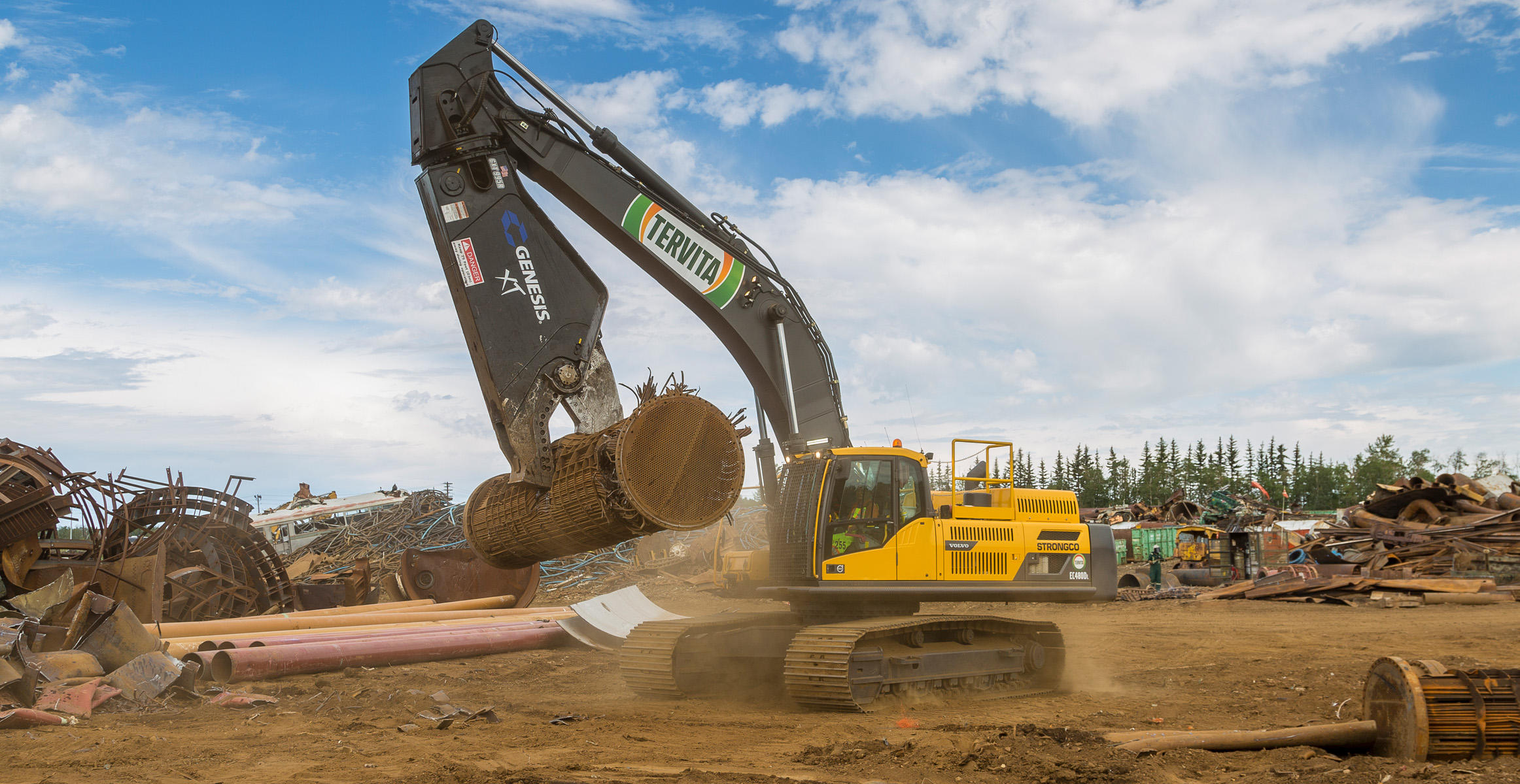 Volvo EC480D crawler excavator with shear at Tervita Metals Recycling worksite in Canada