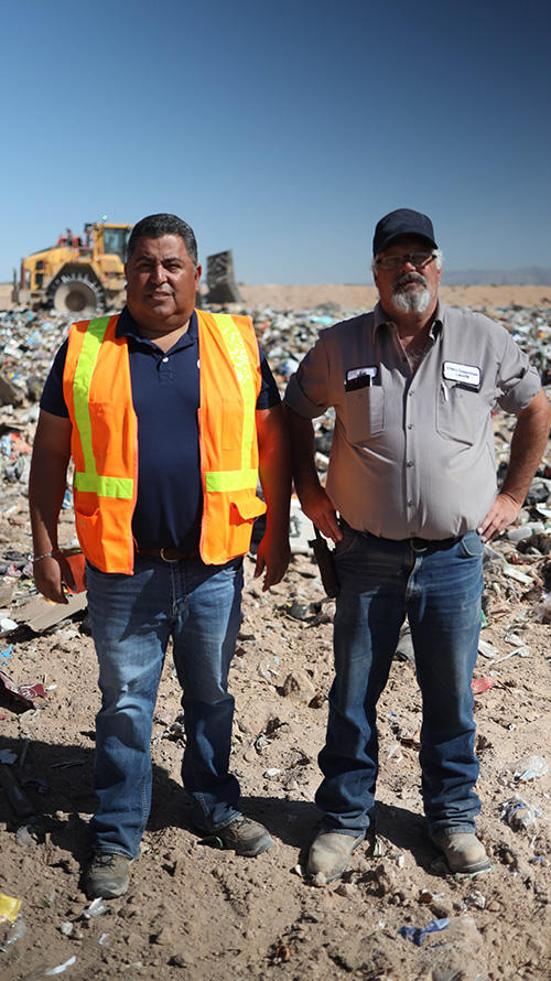 Tito Marquez of Sierra Machinery with Jim Bramble of Otero Greentree Regional Landfill