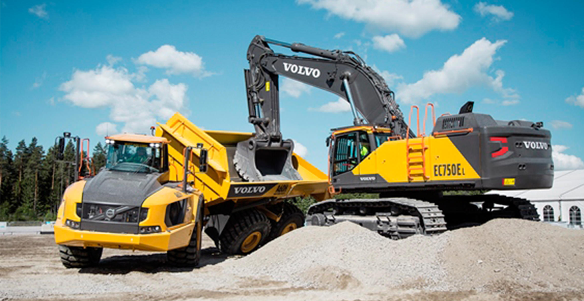 Volvo A60H articulated truck and EC750E excavator