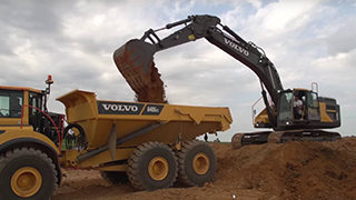 Volvo EC380E Large Tracked Excavator in Action