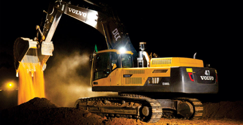 Volvo machines spreading light all around at Durga Construction Co., GMDC, Rajpardi