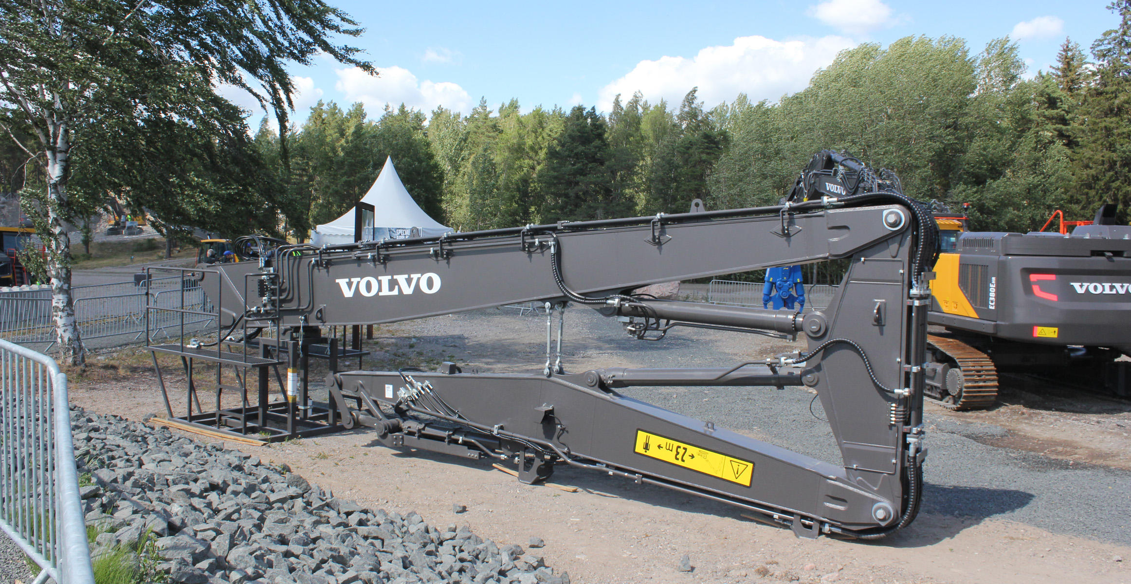 Volvo EC380E HR multi demolition boom at the Volvo Customer Center in Eskilstuna, Sweden