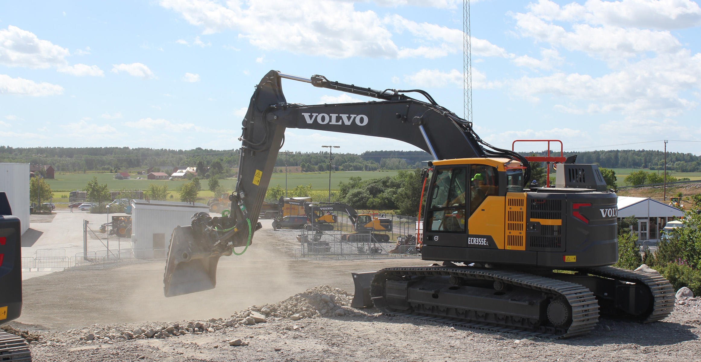 Volvo ECR355E short swing radius crawler excavator at the Volvo Customer Center in Eskilstuna, Sweden