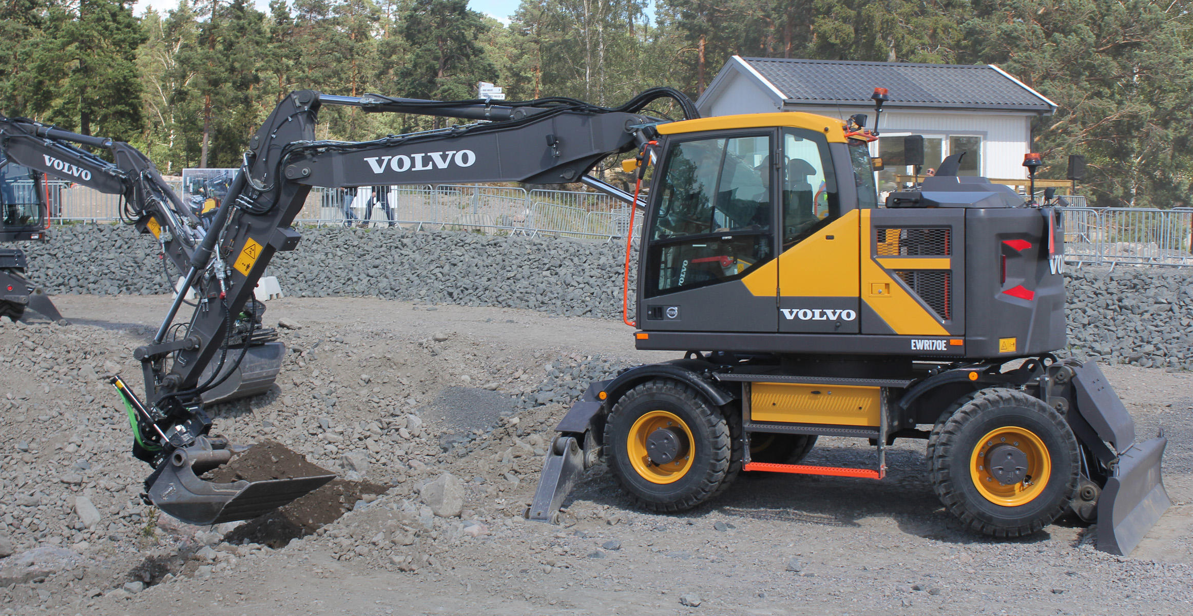 Volvo EW170E short swing radius wheeled excavator at the Volvo Customer Center in Eskilstuna, Sweden