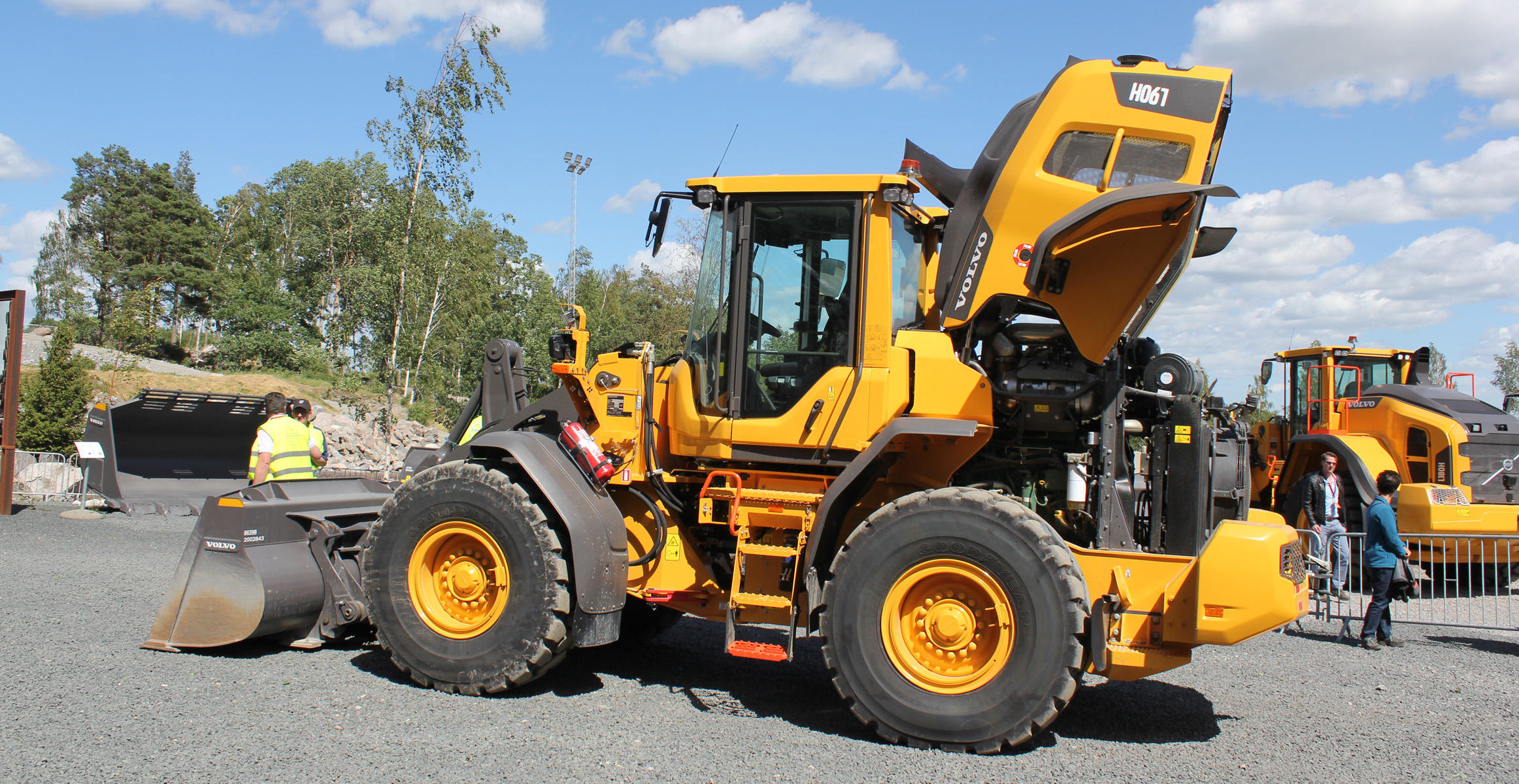 Upgraded Volvo L90H wheel loader at the Volvo Customer Center in Eskilstuna, Sweden