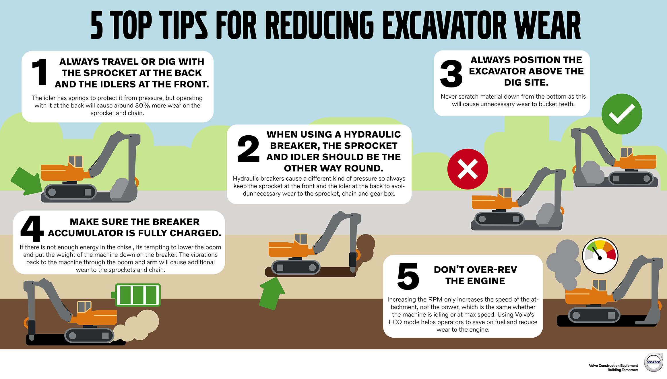 5 tips for reducing excavator wear